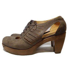 Coclico Lace Up Wood Platform Cut Out Pump Shoes